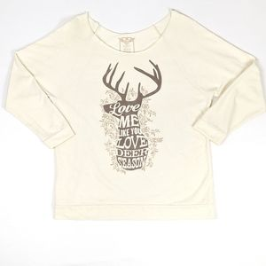 ATX Mafia Half Sleeve Graphic Deer Sweatshirt L